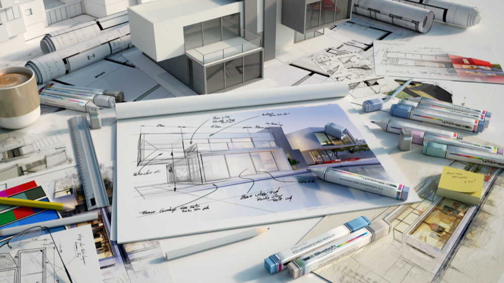 Architekten Zeichnung Planung
